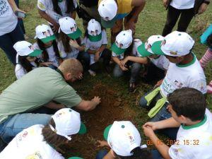 Crianças do Programa Estrada para a Cidadania plantam árvore no Dia do Meio Ambiente
